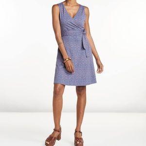 Toad&Co Cue wrap dress blue shadow fern print